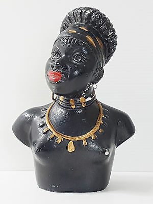 "Bust Plaster 50'S with African 1950 Sign "" F.P "" Vintage Rockabilly 50S"