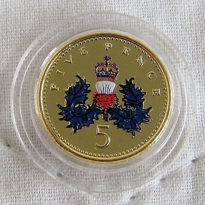 2000 Qeii Five Pence Layered In Pure Gold And Accented In Full Colour