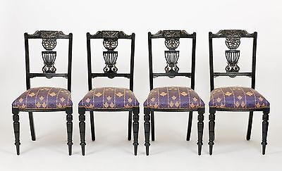 Antique Early 20th C/Edwardian Set of 4 Mahogany Dining Chairs Furniture