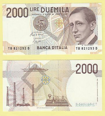 Italy 115, 2000 Lire, inventor Marconi / yacht, radio tower, telegraph 1990 UNC