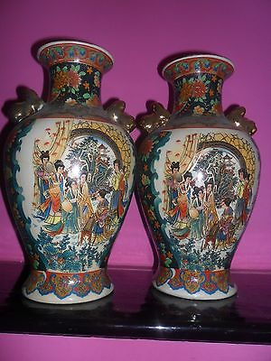 a pair of  hand painted japanese satsuma vases
