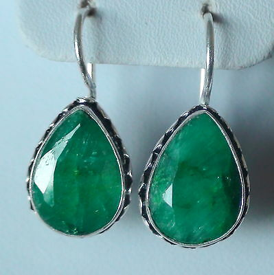 NATURAL EMERALD EARRINGS 925 STERLING SILVER 33.25 CT, FINE Estate Jewelry