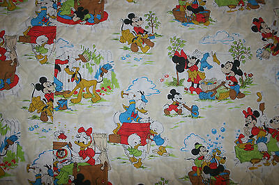 Vintage 50s 60s Disney Mickey Mouse Donald MCM Twin Comforter Quilt Bedspread