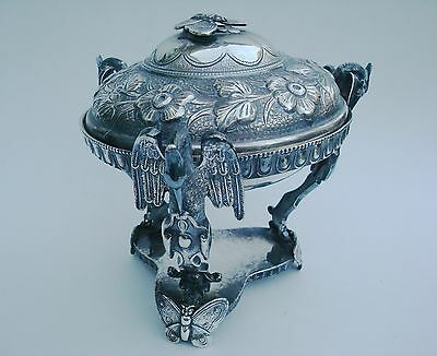 Ornate Aesthetic Silverplate Butter Dish Herons & Butterflies