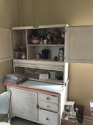 Vintage KITCHEN CABINET hutch cupboard hoosier enamel top WHITE