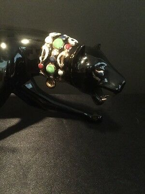 Vintage 1980s Ceramic Black Panther With Jewels