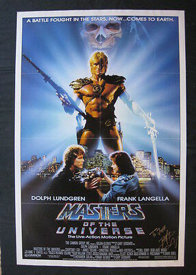 MASTERS OF THE UNIVERSE 1987 Original movie poster signed Dolph Lundgren HE-MAN
