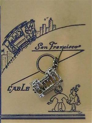 Vintage Sterling Silver San Francisco Trolley Streetcar Charm On Tourist Card