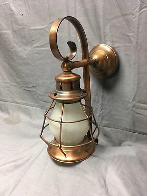 Vtg Mid Century Arts Crafts Copper Porch Sconce Lantern Frosted Glass 335-17E