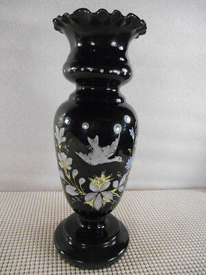 Antique Black Amethyst BRISTOL GLASS VASE w RAISED ENAMEL BIRDS & FLOWERS 9 1/2""