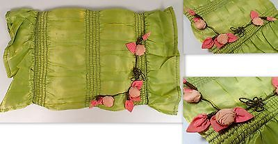 RARE Antique French Boudoir Doll Green w Pink Rose Flowers Decorative Bed Pillow