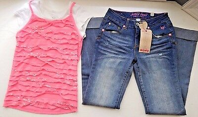 Girls JUSTICE Size 12 Two Piece Outfit Shirt Top & Skinny Jeans NWT Pink Sequins
