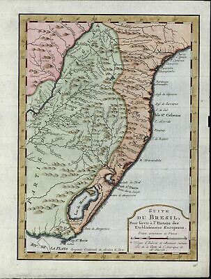 Coast of Brazil Paraguay South America beautiful c.1773 old detailed antique map