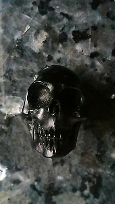 Antique Vintage STUNNING Whitby Jet Carved Memento Mori Skull Mourning Oddities