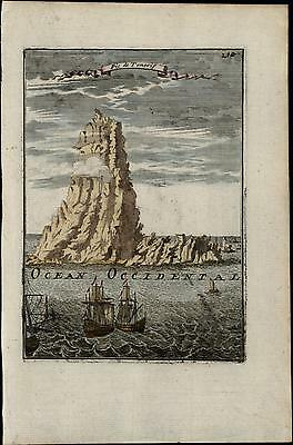 Tenerife Canary Islands Spain sailing ships lovely 1683 Mallet old antique view
