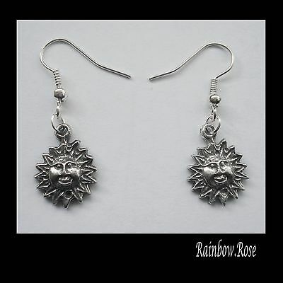 Earrings #2376 Pewter Tiny SUN (17mm x 13mm) CELESTIAL