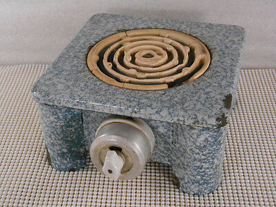 Antique TURQUOISE & WHITE MOTTLED GRANITEWARE ELECTRIC HOT PLATE