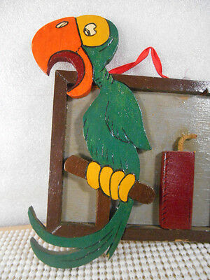 Vintage FOLK ART Wood Cut Out ALARMED PARROT & FIRECRACKER Picture Wall Hanging