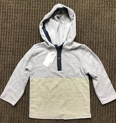 Target Baby Toddler Boy Grey Hooded Long Sleeve Top Size 2, 18-24 Months BNWT