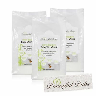 Bamboo Wet Wipes - Disposable, Antibacterial - Pack of 3 Bountiful Bubs