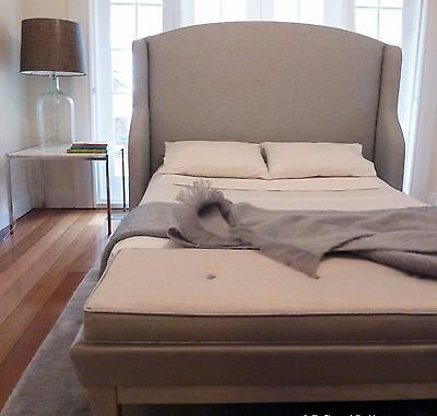 REDUCED PRICE: Upholstered Winged Bedhead, Queen size, Grey/Beige - As New