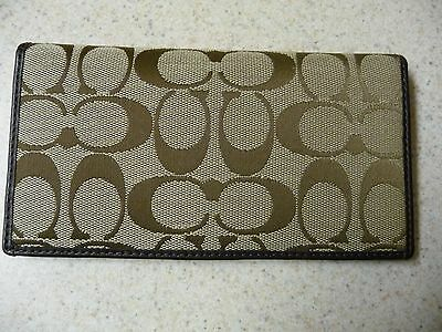 Auth. Coach Brown Monogram Signature Jacquard / Leather Checkbook Cover Holder