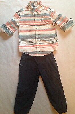 Carters Boys 3T Outfit Striped Button Front Shirt Navy Blue Pants Nice