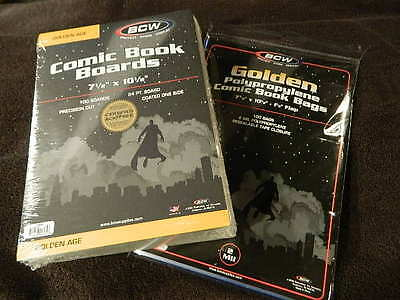 100 New BCW Golden Age Comic Book Bags And Boards - Acid Free - Archival Storage