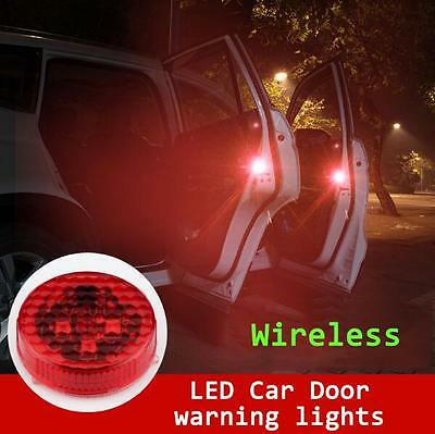 Universal 2x LED Car Door Opened Warning Strobe Light Wireless Waterproof Lamp