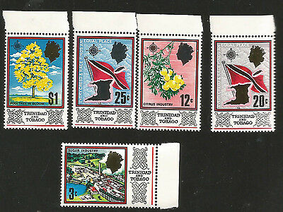 Trinidad & Tobago Flag Map Citrus Poui Tree Mint Never Hinged Stamps With Margin