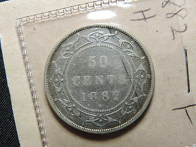1882 H 50 Cent Coin Canada Victoria Newfoundland Fifty Cents .925 Silver F