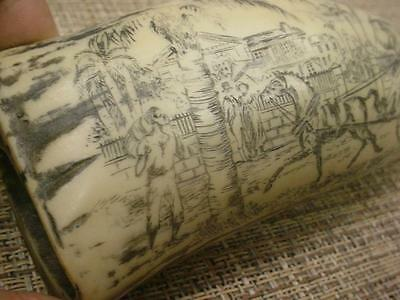 Faux Resin Scrimshaw Whale's Tooth carved Colonial Sugar Plantation Scene D105e