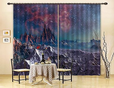 3D Planet Star 5Blockout Photo Curtain Printing Curtains Drapes Fabric Window CA