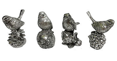 "Set Of 4 Nature'S Birds Figurines 3""H Silver Painted Indoor Home Decor Accent"