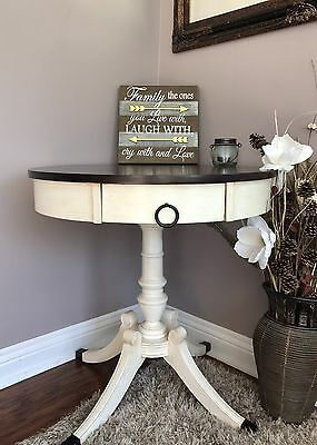Antique Custom Chalk Painted Duncan Phyfe Style Drum Table