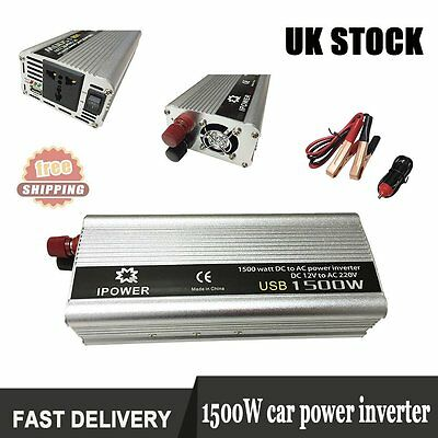 DC 12V to AC 240V Power Inverter 1500W (3000W Peak) Converter Modified Sine Car