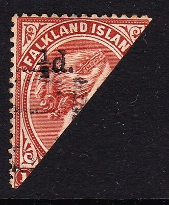 FALKLAND ISLANDS 1891 ½d ON HALF OF RED-BROWN CANCELLED BY FAVOUR SG 14.