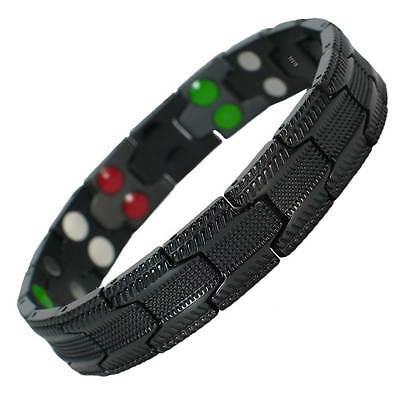 Mens Magnetic BIO Energy Titanium Health Power Bracelet 5 in 1 Double Row Black