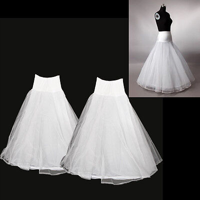 2PCS 1 Hoop 3 Layer Petticoat Bridal Slip Crinoline A-line Wedding Undershirt US