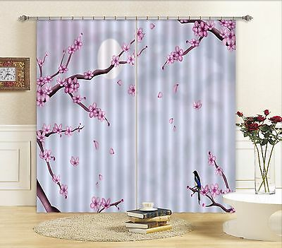 3D Moon Flower 3Blockout Photo Curtain Printing Curtains Drapes Fabric Window CA