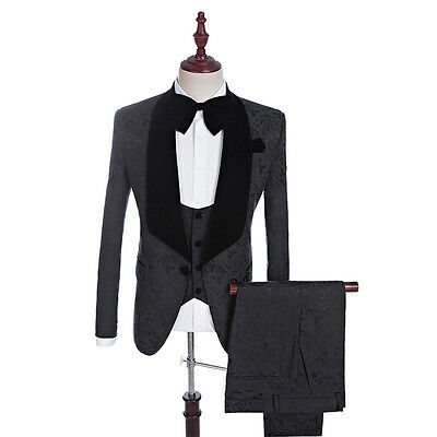 Black Floral Men Wedding Suits Groomsmen Tuxedos Formal Business 3 Piece Suits