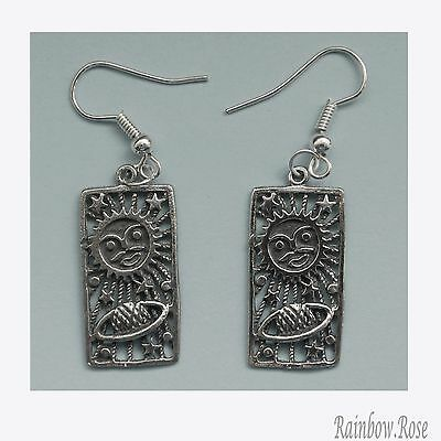 Earrings #267 Pewter CELESTIAL Sun Stars Planet (25mm x 15mm) silver tone