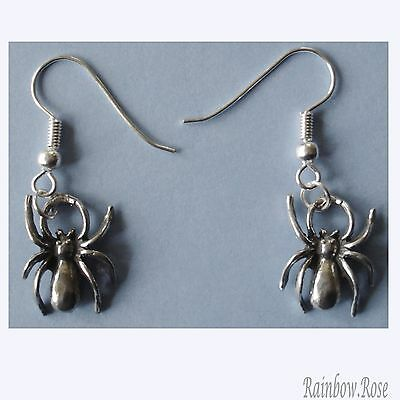 Earrings #276 Pewter Spiders (17mm x 13mm) Silver Tone Spider
