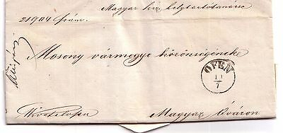 1861? Pre-stamp letter Ofen (Buda), Budapest, Hungary (embossed seal, postmarks)