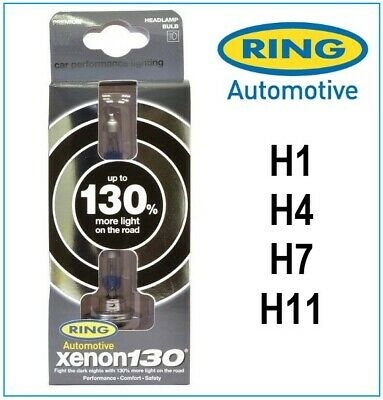 Ring Xenon 130 H1 H4 H7 H11 HB4 Car Headlight Bulb Twin Pack - 130% More Light