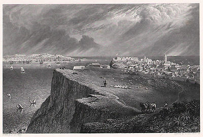 LISSABON LISBOA From Almada Original-Kupferstich von Batty 1830 Orig.