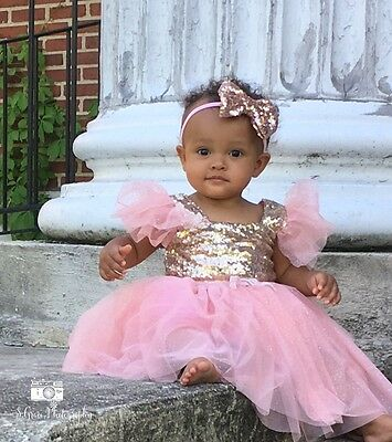 Pink and gold baby dress Sequin pageant dress birthday dress flower girl dress