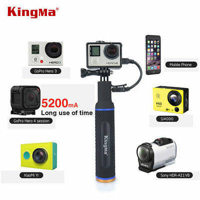 KingMa Hand Grip Monopod Selfie Stick Power Bank 5200mAh for GoPro Hero 5 4 3+ 3