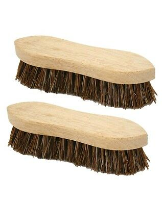 "2 x Heavy Duty Floor Scrubbing Brush Hard Bristle 8"" Wood Hand Deck SCRUB Broom"