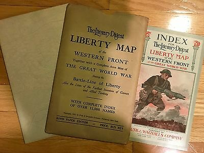 Antique 1918 Western Front Liberty War Map with Index Booklet in folder NICE!